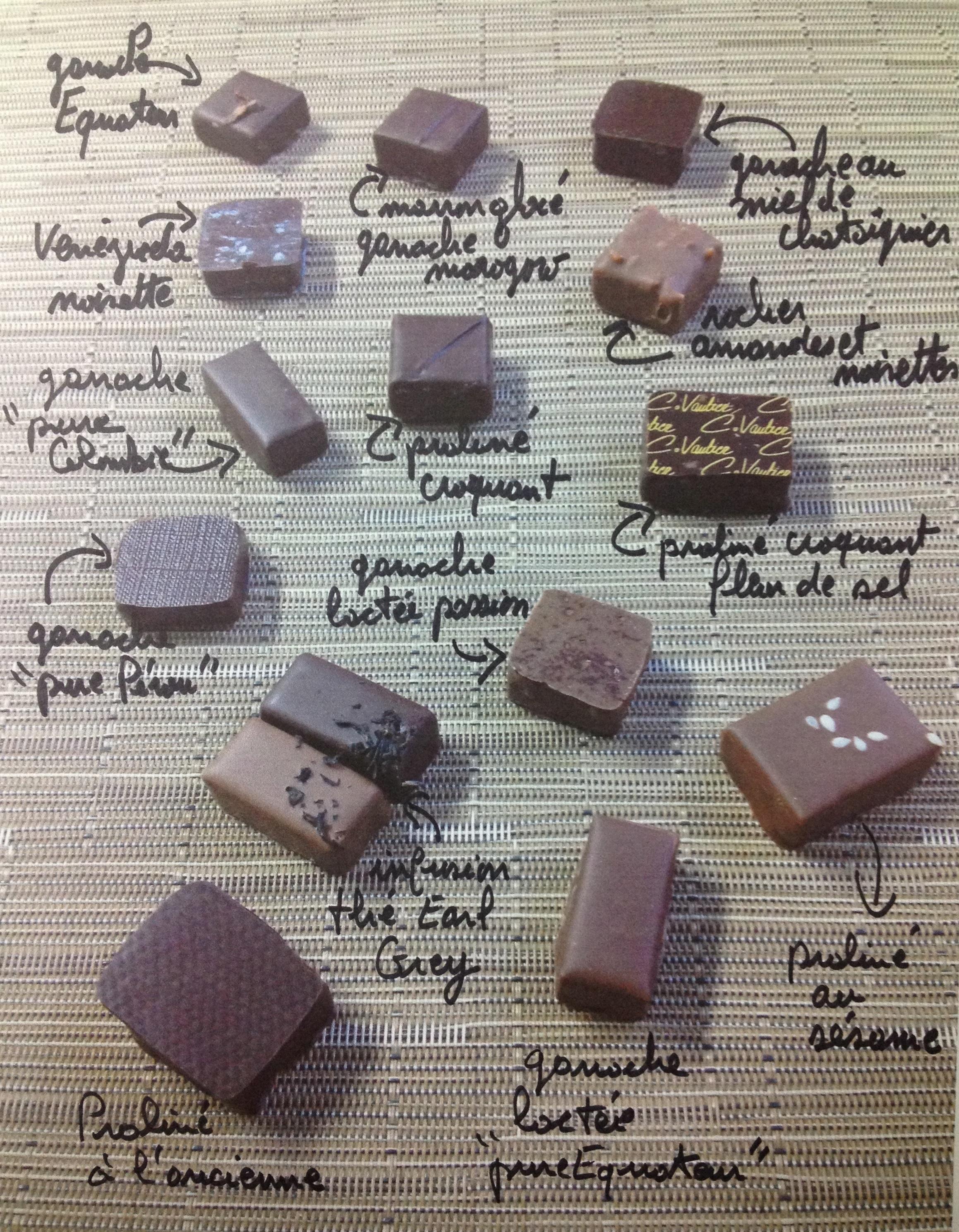 Composition des écrins de chocolat taille 3 et 4